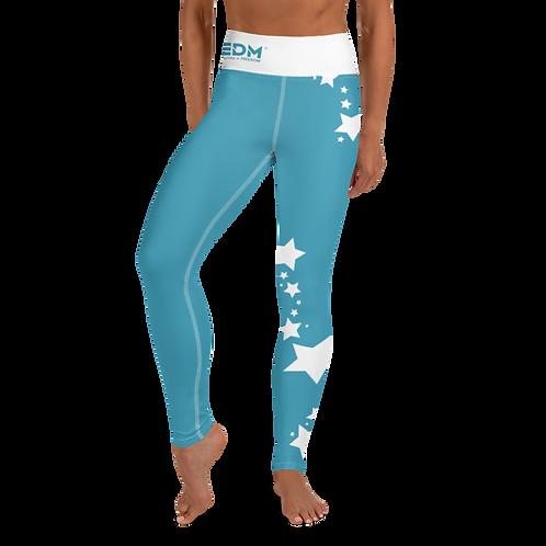 Women's Leggings White Star - EDM J to F Teal Blue