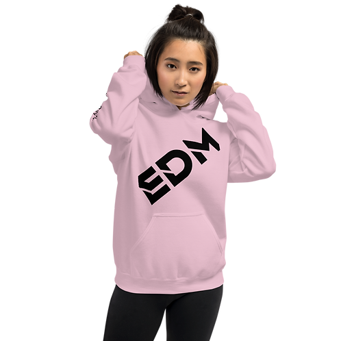 Women's Unisex Hoodie EDM J to F Black Print - Pink