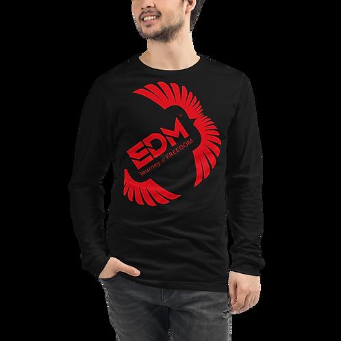 Mens Unisex Long Sleeve T-shirt - EDM J to F Square Wings Logo - Various