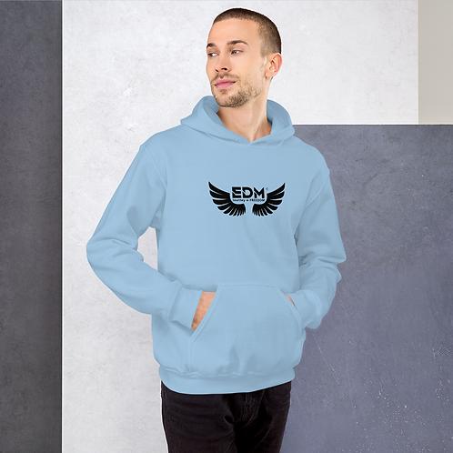 Mens Unisex Hoodie EDM J to F Wings Logo Print Black - Various