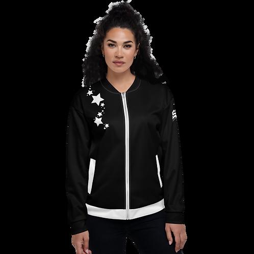 Women's Unisex Fit Bomber Jacket - EDM J to F - Black White Star