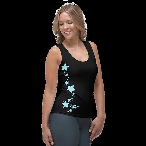 Women's Vest - EDM J to F Sky Blue Star - Black