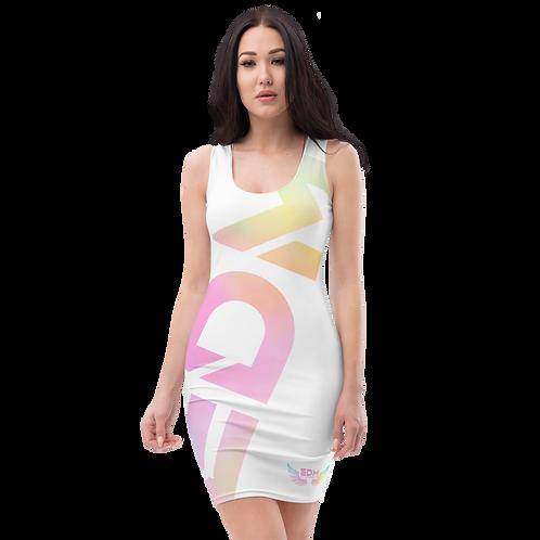 Body Con Dress - EDM J to F Logo Tye Dye Pastels - White