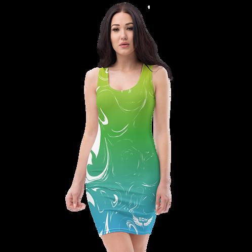 Body Con Dress - EDM J to F Green/Blue Gradient Swirl - White