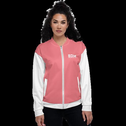 Women's Unisex Fit Bomber Jacket - EDM Journey to Freedom White / Coral