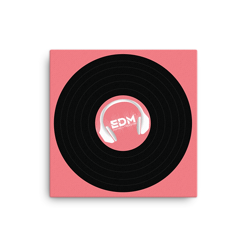 Square Canvas 12x12 / 16x16  - EDM J to F Record - Coral