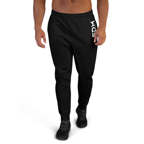 Black Men's Joggers - EDM Journey to Freedom Small Print - White