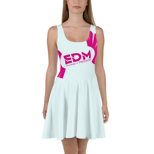 Womens Ice Blue Skater Dress EDM Journey to Freedom Print Style 8 - Hot Pink