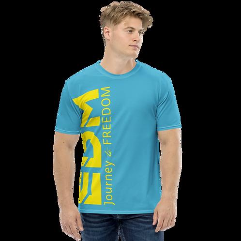 Men's T-shirt Blue - EDM Journey to Freedom Large Print - Yellow