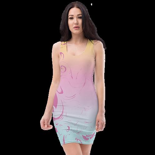 Body Con Dress - EDM J to F Pink/Blue/Yellow Gradient Swirl - Purple Pink