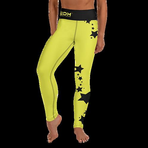 Women's Leggings Black Star - EDM J to F Lime Yellow