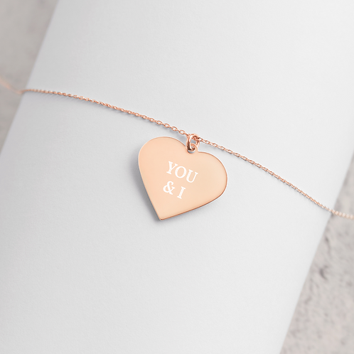 Engraved Silver / Rose Gold Heart Necklace - 'You & I'