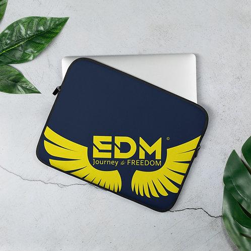 "Navy Laptop Sleeve - 13"", 15"" - EDM Journey to Freedom Print - Yellow"