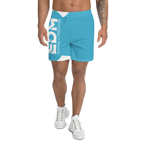 Men's Blue Long Shorts - EDM Journey to Freedom Print - White