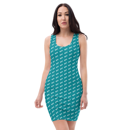 Body Con Dress - Teal EDM Journey to Freedom Pattern Print - White