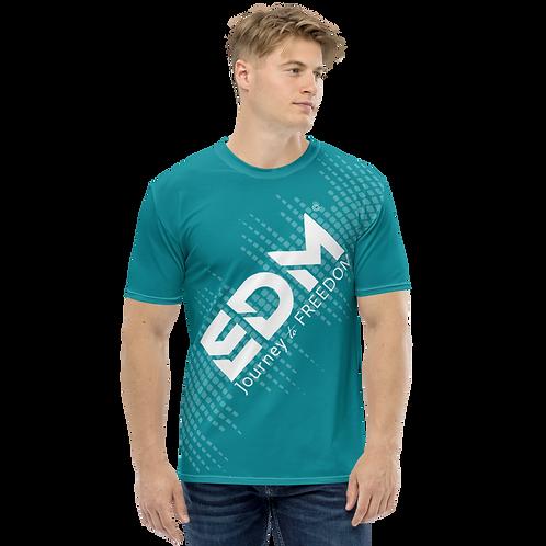Men's T-shirt - EDM J to F Sound Bars - White / Green Teal