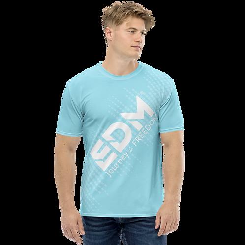Men's T-shirt - EDM J to F Sound Bars - White / Sky Blue