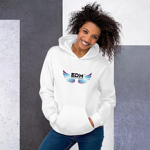 Womens Unisex Hoodie EDM J to F Wings Logo Print Multi - White
