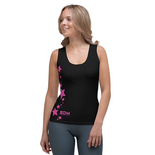 Women's Vest - EDM J to F Dark Pink Star - Black