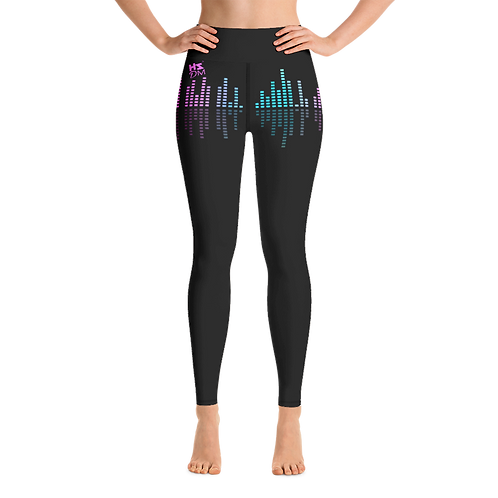 Women's Leggings - HS Design & Music Equalizer Multi - Black