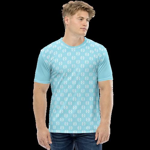 Men's T-shirt Sky Blue - EDM Journey to Freedom Small Pattern Print - White