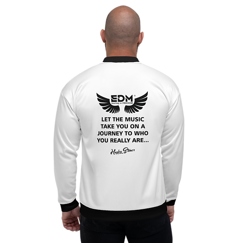 Mens Unisex Fit Bomber Jacket - EDM J to F Journey Slogan Black - White