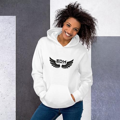 Women's Unisex Hoodie EDM J to F Wings Logo Print Black - Various