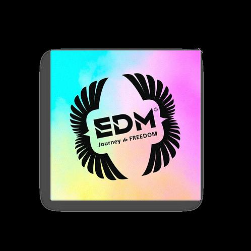 Canvas Assorted Sizes - EDM J to F Square Logo Bright Tye Dye - Black