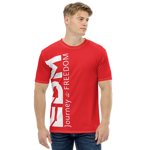 Men's T-shirt Red - EDM Journey to Freedom Large Print - White