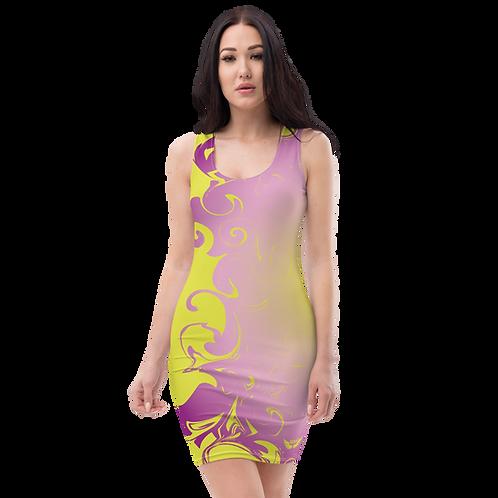 Body Con Dress - EDM J to F Purple/Yellow Circle Gradient Swirl - Lime Yellow