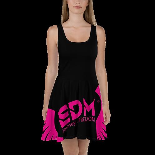 Womens Black Skater Dress EDM Journey to Freedom Print Style 6 - Hot Pink