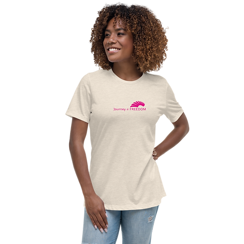 Women's T-Shirt Various - White EDM Journey to Freedom Text Print - Hot Pink