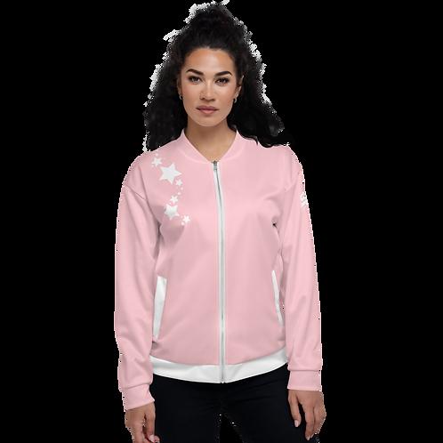Women's Unisex Fit Bomber Jacket - EDM J to F - Baby Pink White Star