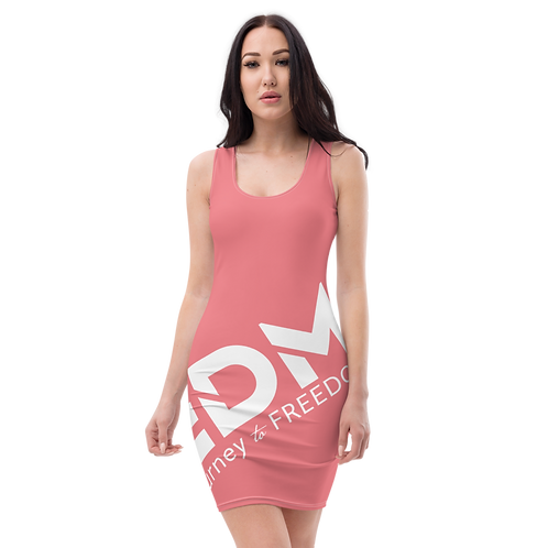 Body Con Dress - Coral EDM Journey to Freedom No wings Print - White