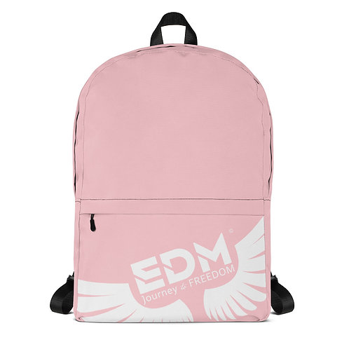 Backpack Baby Pink / Black - EDM Journey to Freedom Print - White