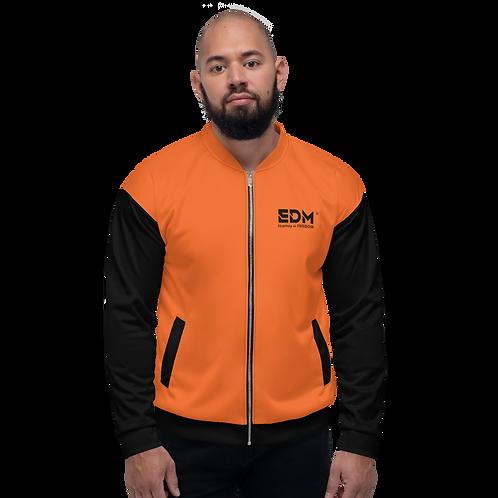 Mens Unisex Fit Bomber Jacket - EDM J to F Two-Tone Dark Orange / Black