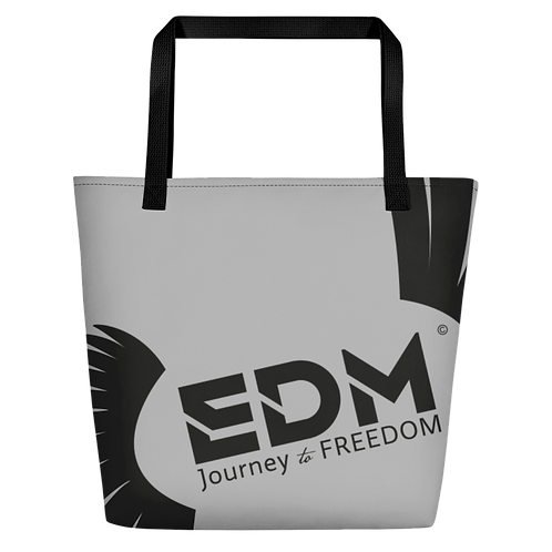 Beach Bag - Grey EDM Journey to Freedom Print - Black