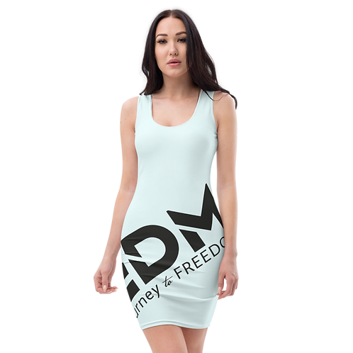 Body Con Dress - Ice Blue EDM Journey to Freedom No wings Print - Black
