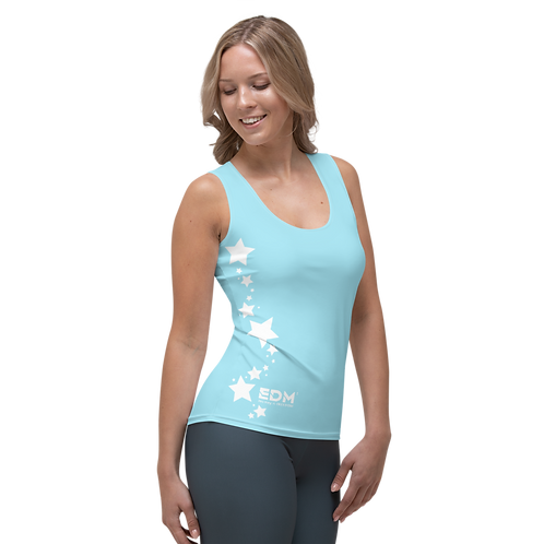 Women's Vest - EDM J to F White Star - Sky Blue