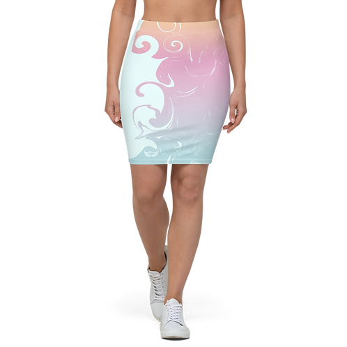 Women's Pencil Skirt-EDM J to F Orange/Pink/Blue Gradient Swirl - Ice Blue