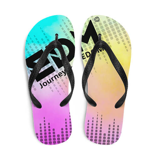 Women's Flip-Flops EDM J to F Sound Bars Black - Tye Dye Pastel