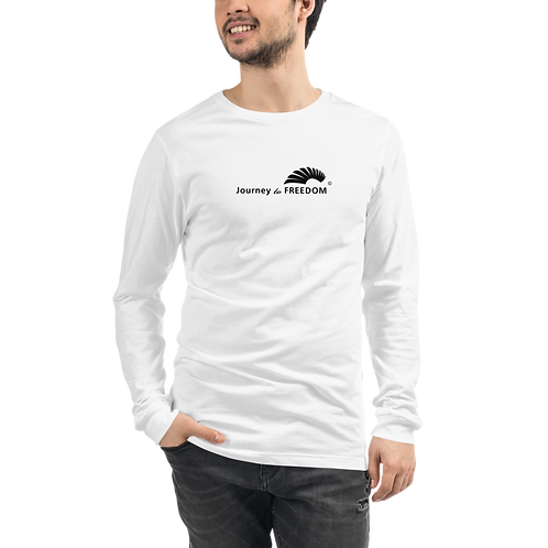 Mens Long Sleeve T-shirt - EDM J to F Text Logo Black - White