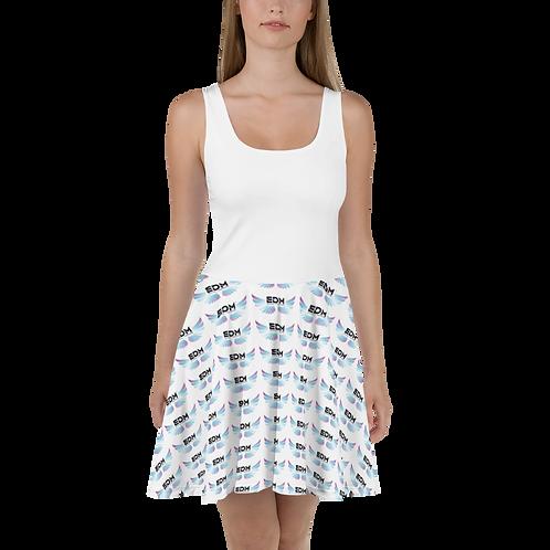 Womens White Skater Dress EDM Journey to Freedom Print Style 10 - Multi