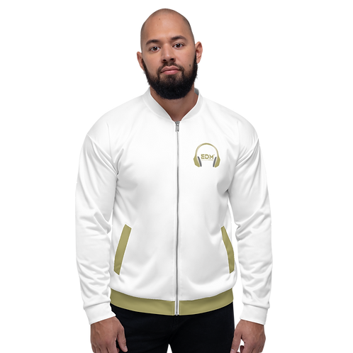 Mens Unisex Fit Bomber Jacket - EDM J to F - White Gold DJ Style
