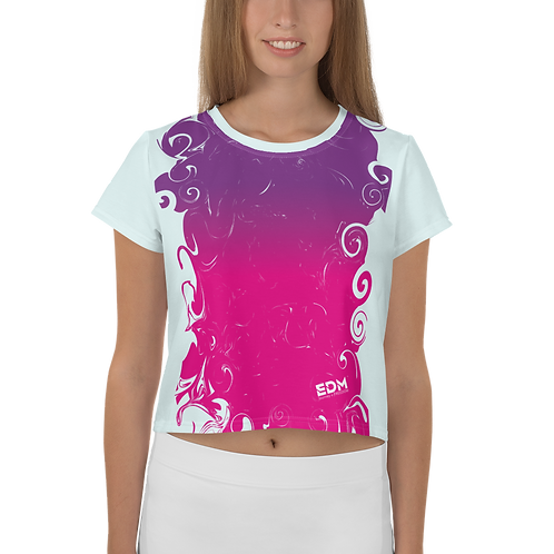 Women's Crop Tee - Gradient Hot Pink/Purple/Ice Blue-EDM J to F Small Logo White
