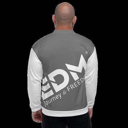 Men's Unisex Fit Bomber Jacket - EDM Journey to Freedom White / Grey