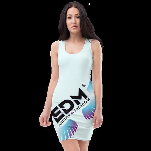 Body Con Dress - EDM J to F Logo Multi - Ice Blue