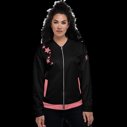 Women's Unisex Fit Bomber Jacket - EDM J to F - Black Coral Star