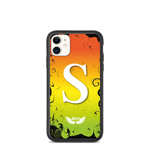 Biodegradable iPhone case-Orange/Yellow/Green-EDM J to F-Personalised Initial