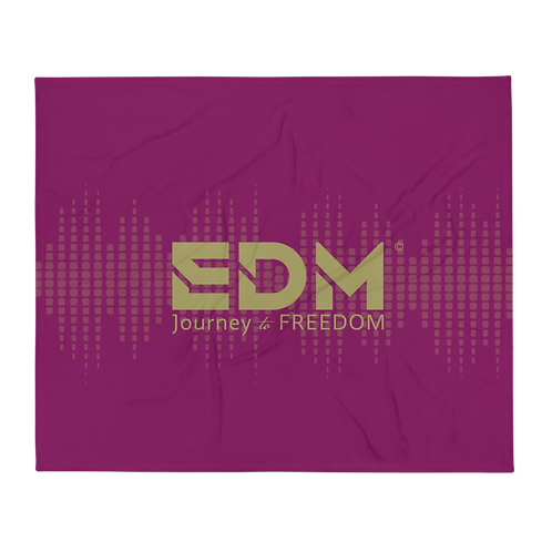 Fleece Throw Blanket - 50 x 60cm - EDM J to F Sound bars - Plum / Gold